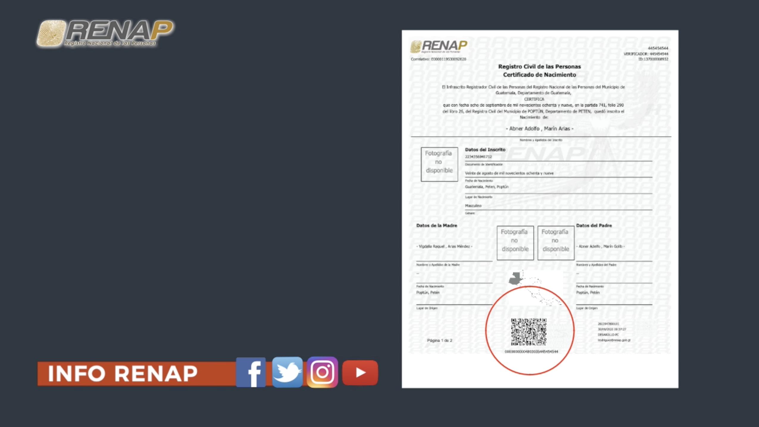 Certificados en línea de RENAP son seguros