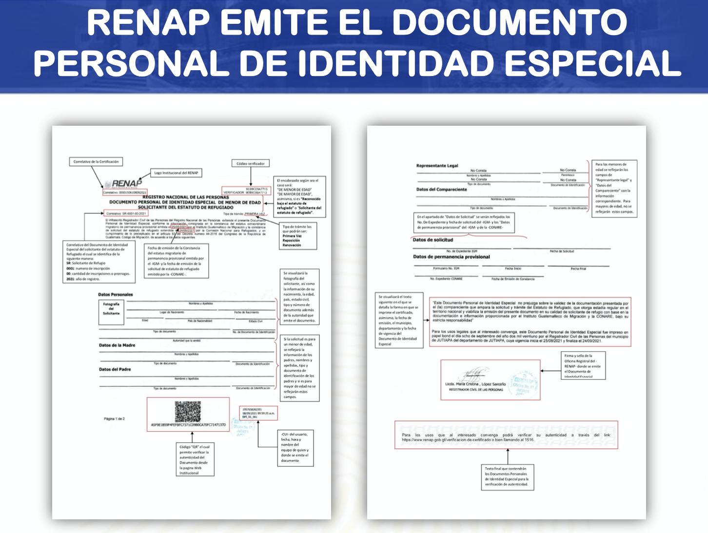 documento personal de identidad especial RENAP