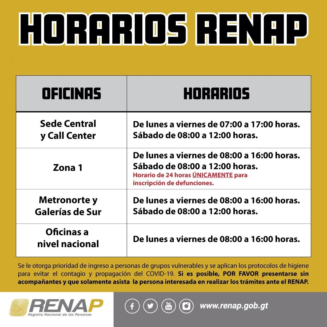 horarios de RENAP Guatemala