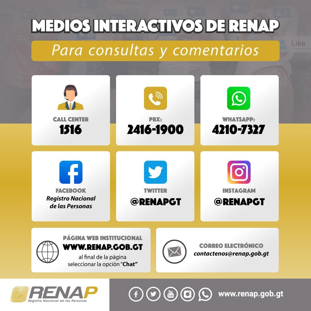Medios para comunicarse con RENAP