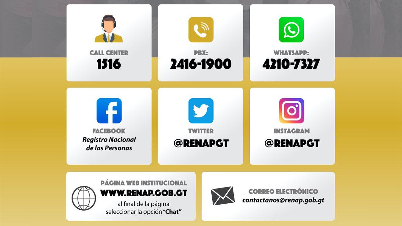vías de comunicación de RENAP