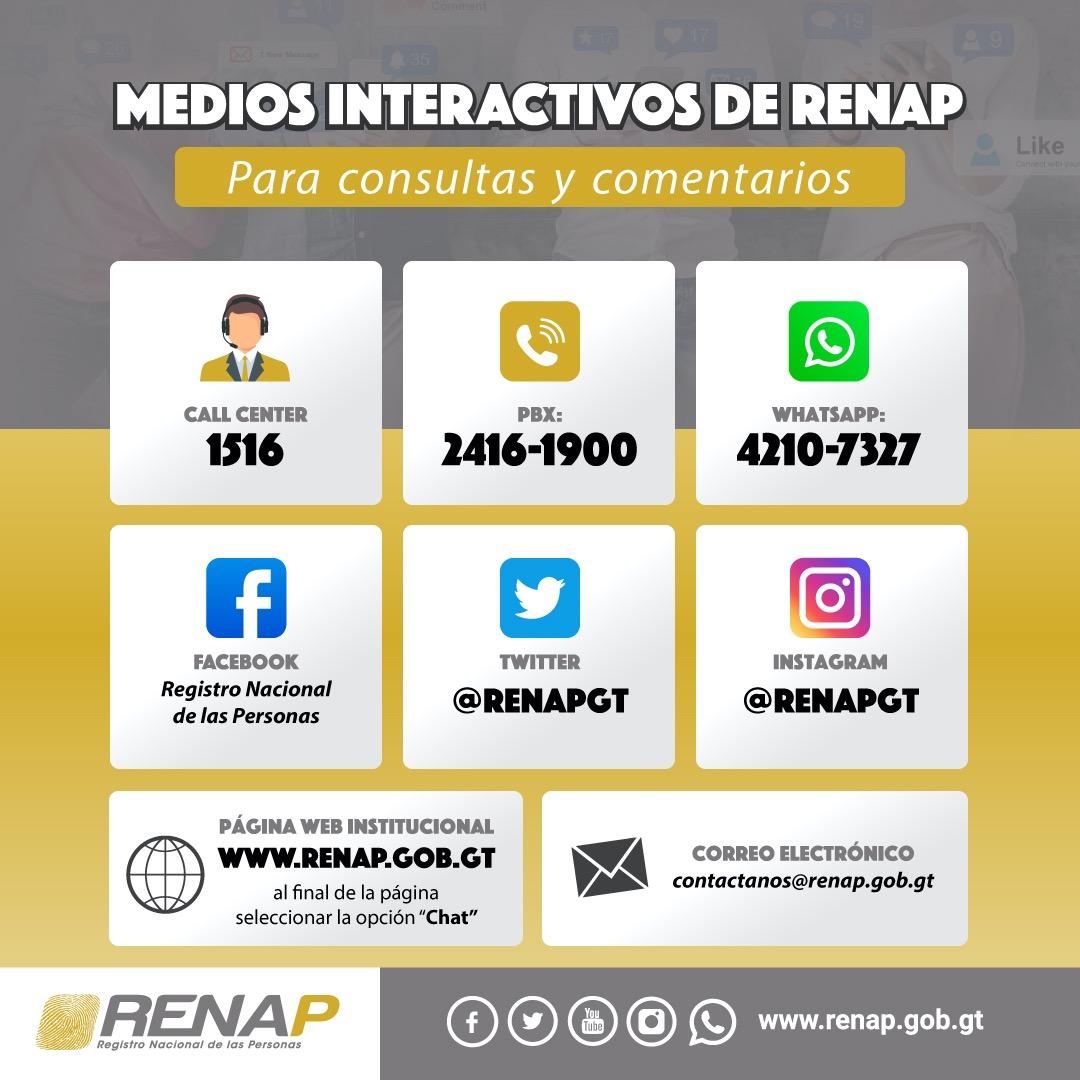 medios interactivos del RENAP