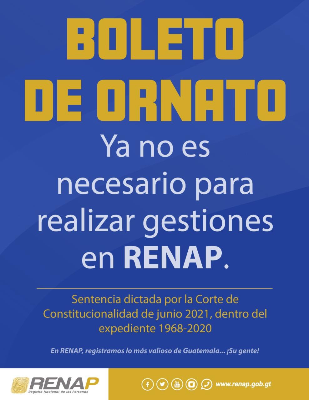 Boleto de Ornato ya no es necesario en RENAP